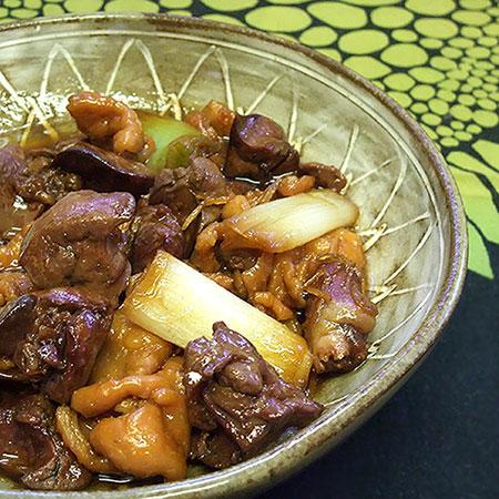 鶏レバーと鶏皮の甘辛煮